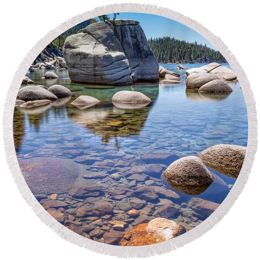 Lake Round Beach Towel featuring the photograph Lake Tahoe Rocks by Dianne Phelps