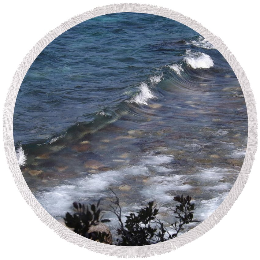 Water Round Beach Towel featuring the photograph Lake Tahoe Waves by Lorna Hooper