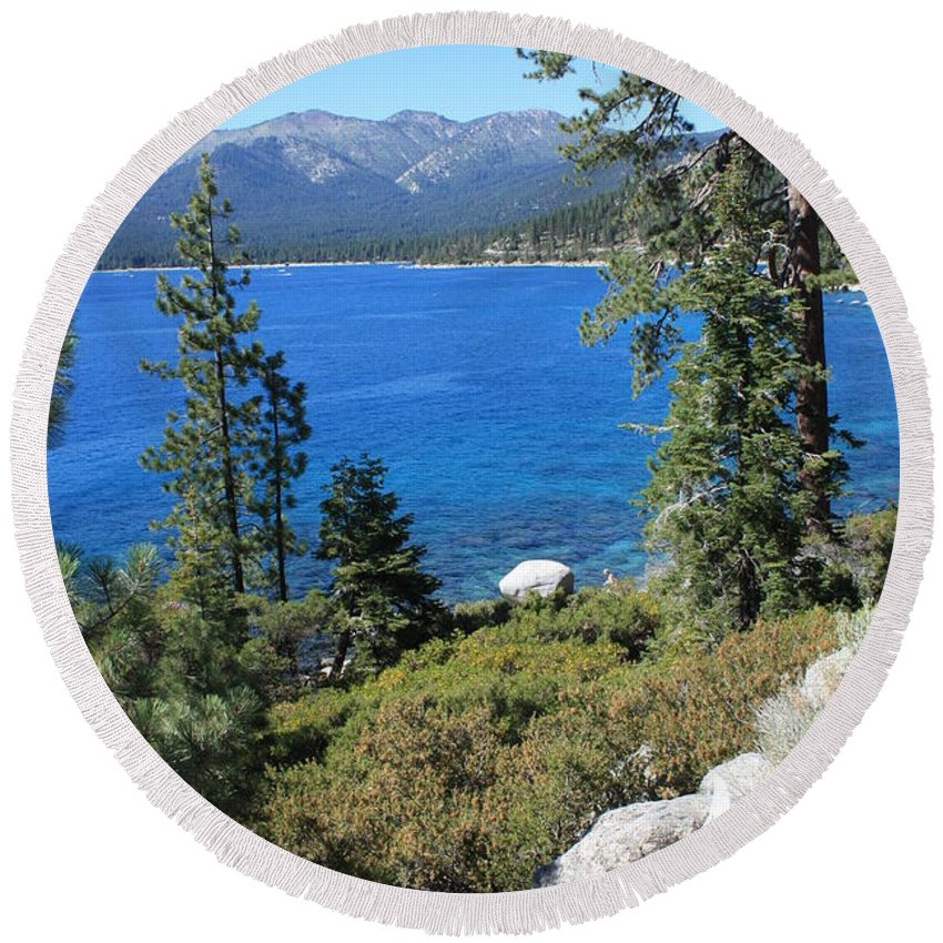 Lake Tahoe Round Beach Towel featuring the photograph Lake Tahoe With Mountains by Carol Groenen
