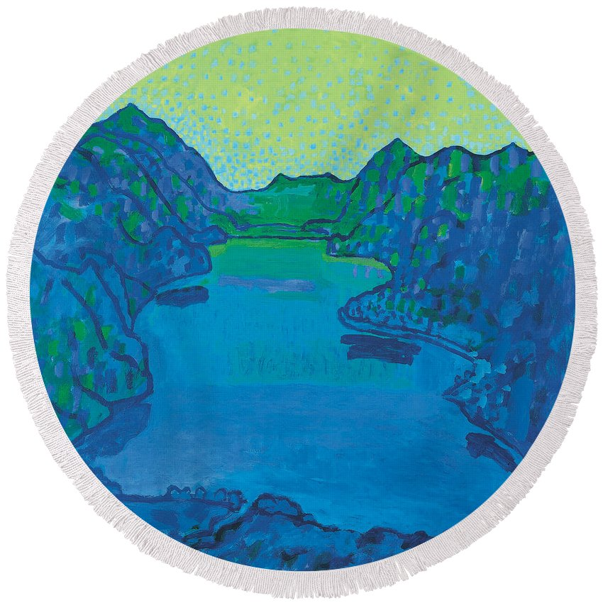 August Macke Round Beach Towel featuring the painting Lake Thun by August Macke