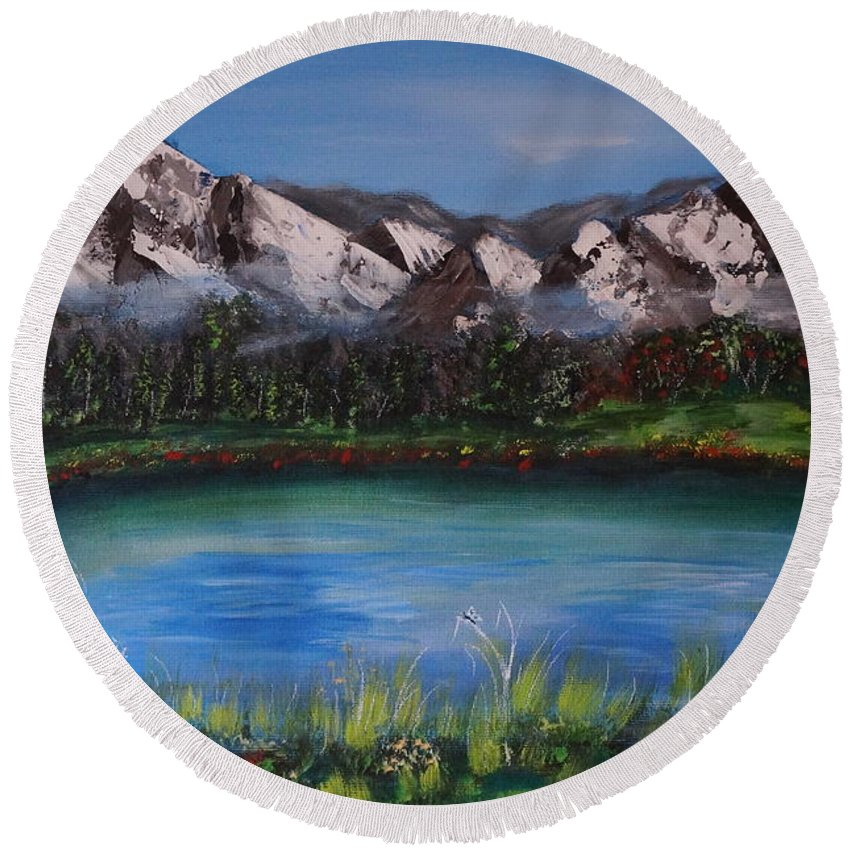 Acrylic On Canvas Round Beach Towel featuring the painting Lake by Tzvetanka Apostolova
