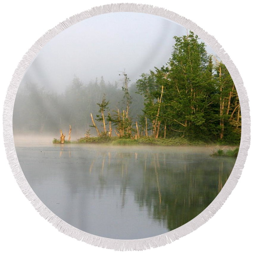 Lake Round Beach Towel featuring the photograph Lake Umbagog Morning Light by Neal Eslinger