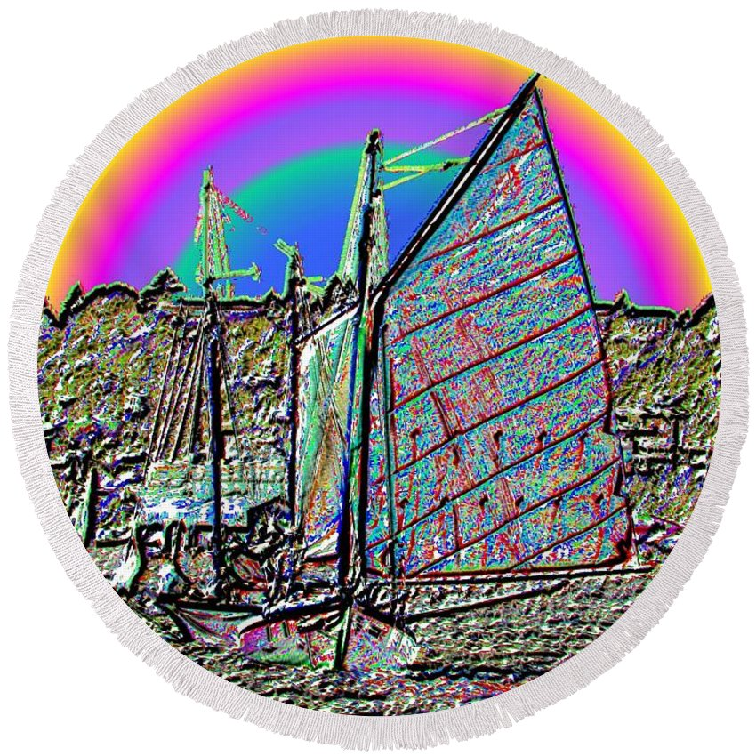 Seattle Round Beach Towel featuring the photograph Lake Union Rainbow Sail by Tim Allen