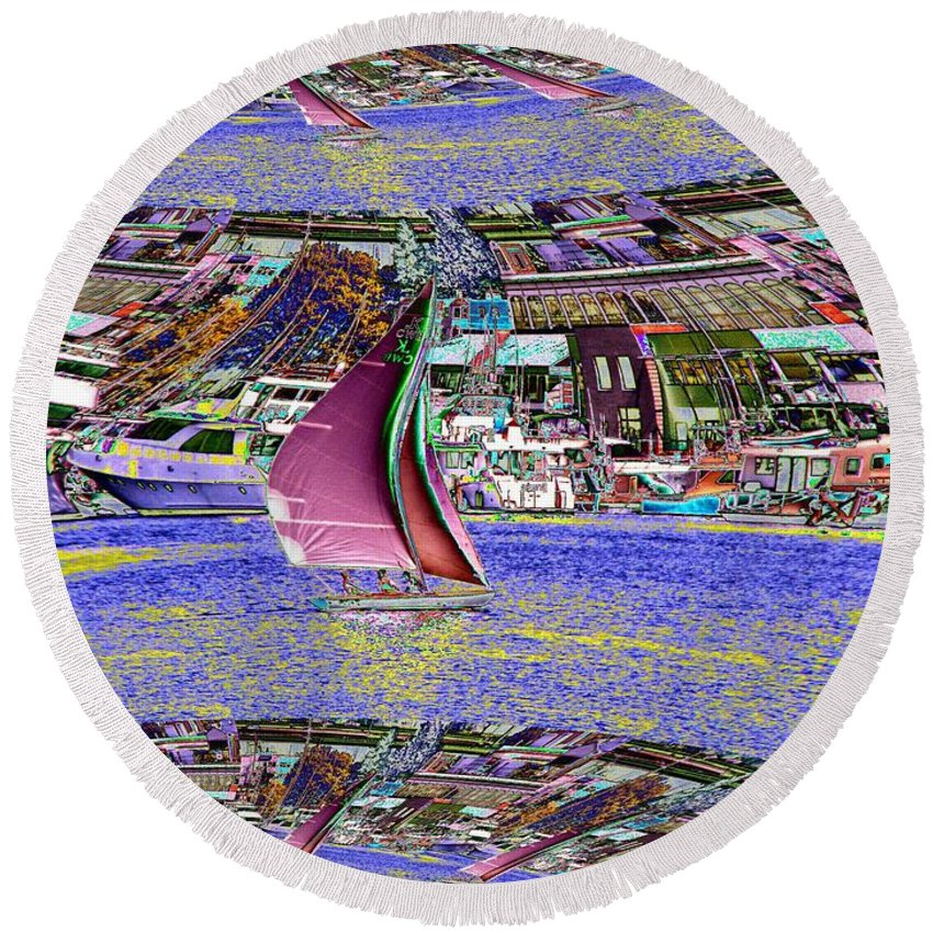 Seattle Round Beach Towel featuring the photograph Lake Union Sail by Tim Allen