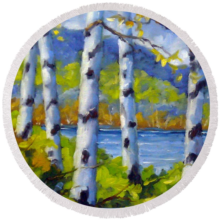 Original Painting;oil; Landscape; Birches; Trees; Nature; Richard T Pranke; Lake Round Beach Towel featuring the painting Lake View by Richard T Pranke
