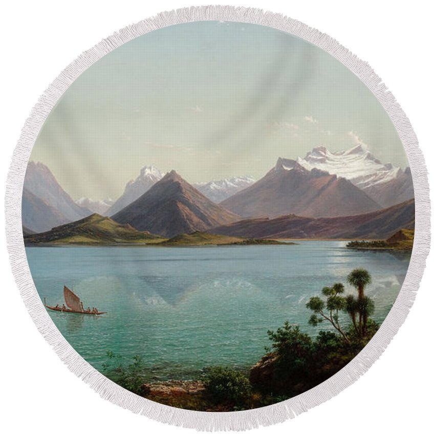 Eugene Von Guerard Round Beach Towel featuring the painting Lake Wakatipu With Mount Earnslaw. Middle Island New Zealand by Eugene von Guerard