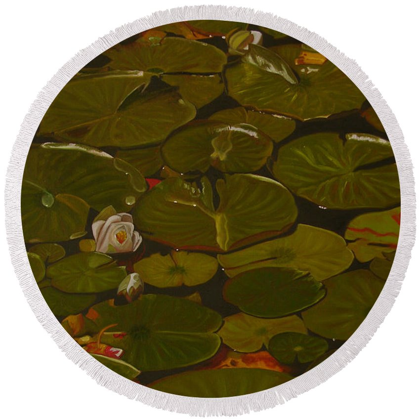 Lily Pad Round Beach Towel featuring the painting Lake Washington Lily Pad 17 by Thu Nguyen