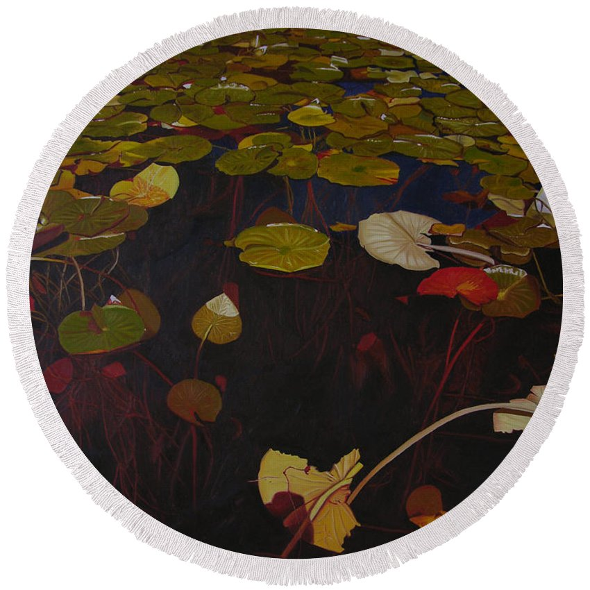 Water Round Beach Towel featuring the painting Lake Washington Lilypad 7 by Thu Nguyen