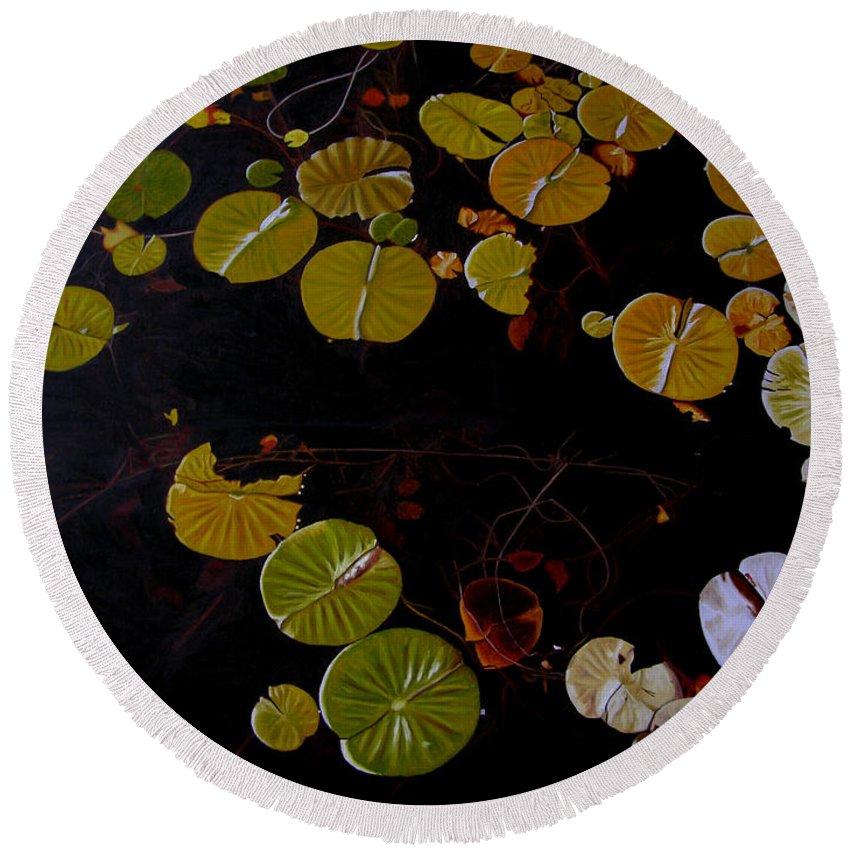 Water Round Beach Towel featuring the painting Lake Washington Lilypad 8 by Thu Nguyen