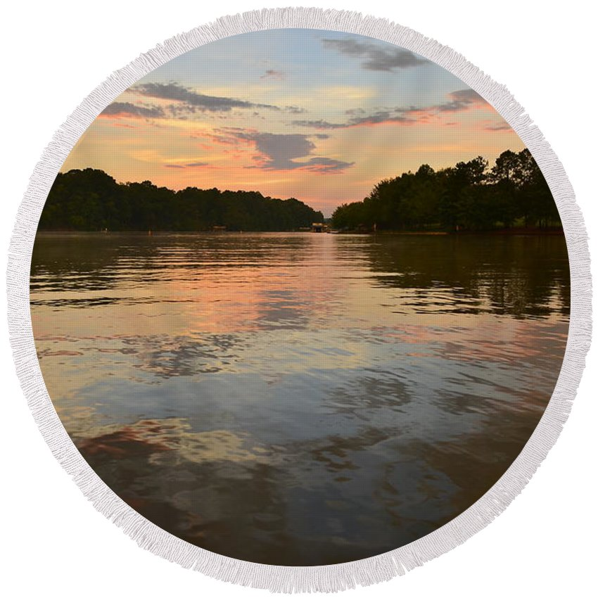 Lake Wedowee Round Beach Towel featuring the photograph Lake Wedowee Alabama At Sunset by Mountains to the Sea Photo