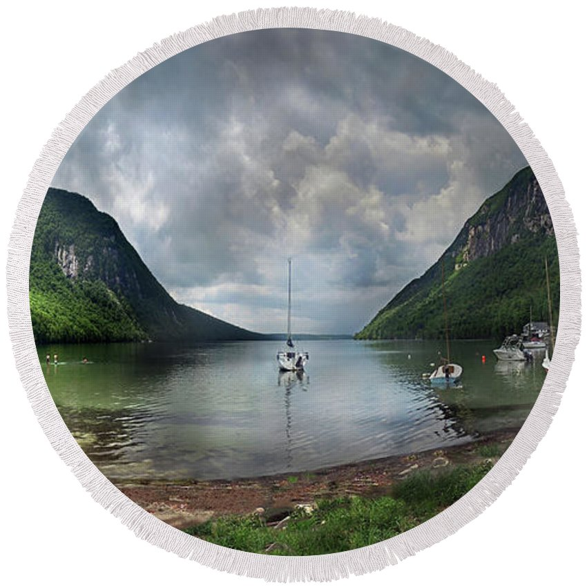 Willoughby Round Beach Towel featuring the photograph Lake Willoughby Panorama One by Nancy Griswold