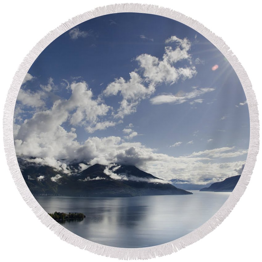 Lake Round Beach Towel featuring the photograph Lake With Islands by Mats Silvan