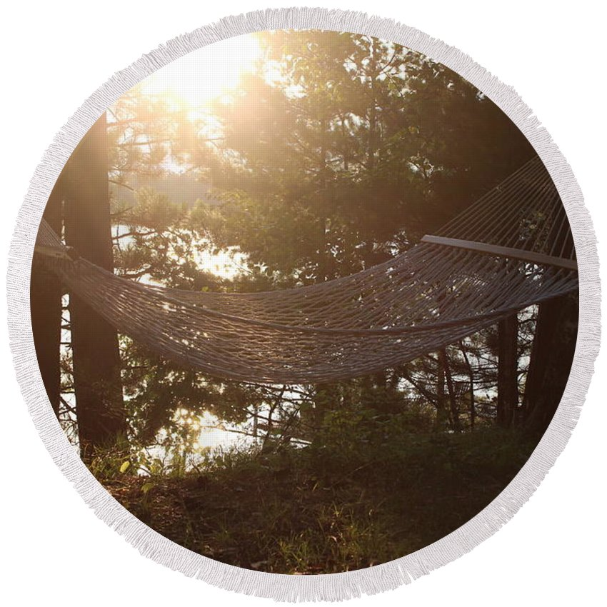 North Round Beach Towel featuring the photograph Lakeside Hammock by Nicholas Miller