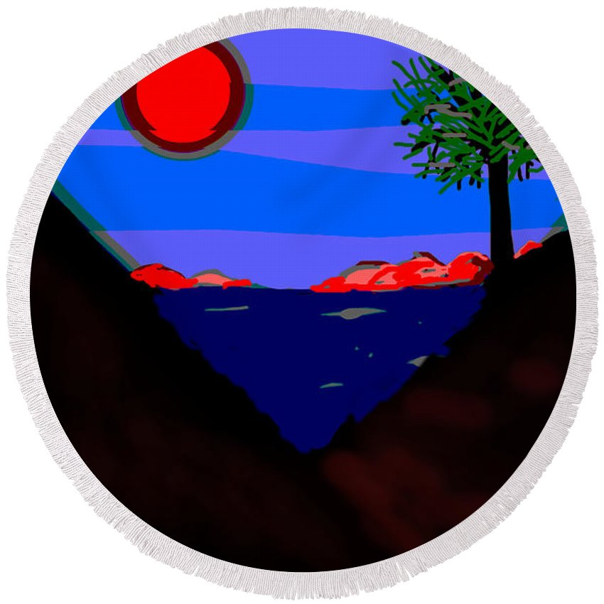 Lake Round Beach Towel featuring the painting Lakeside by Paul Sutcliffe