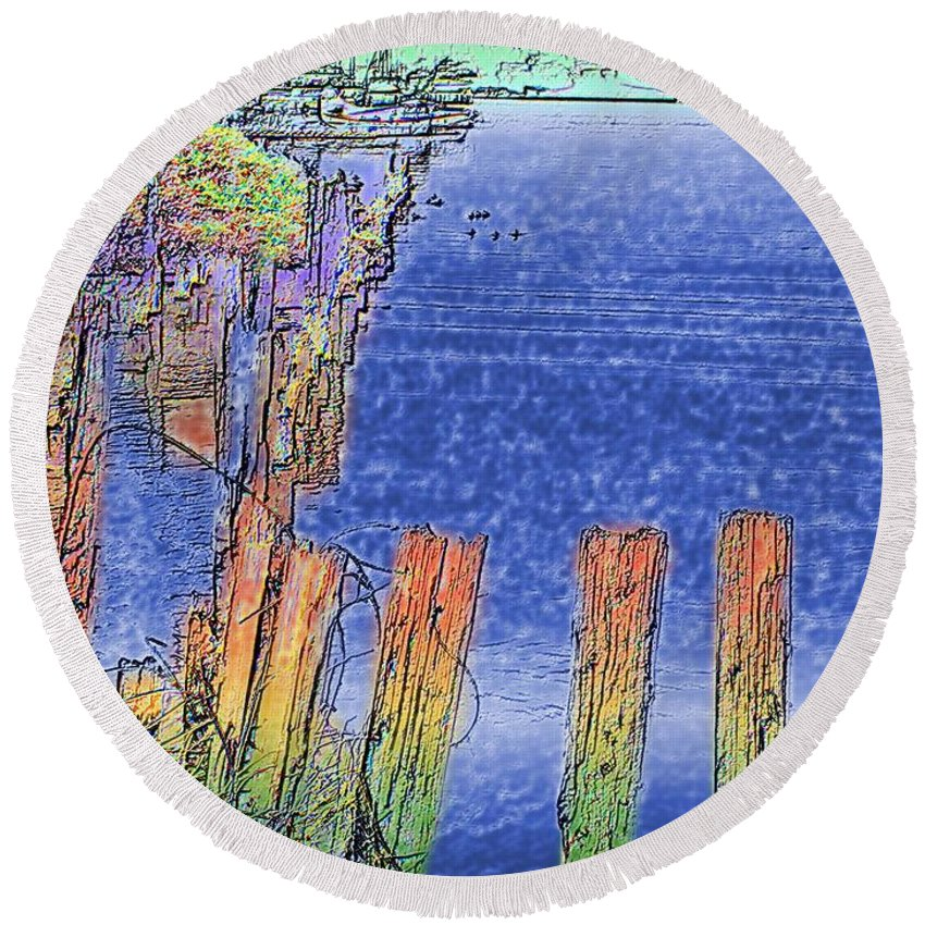 Seattle Round Beach Towel featuring the photograph Lakeside Pilings by Tim Allen