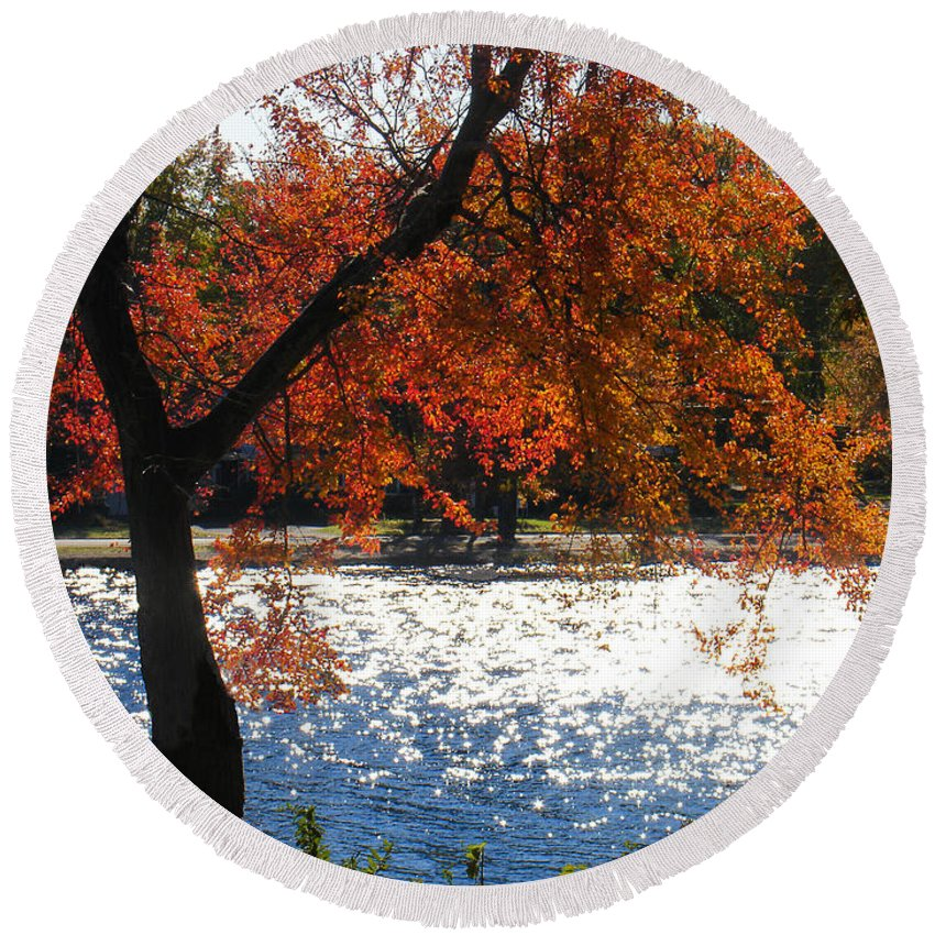 Landscape Round Beach Towel featuring the photograph Lakewood by Steve Karol