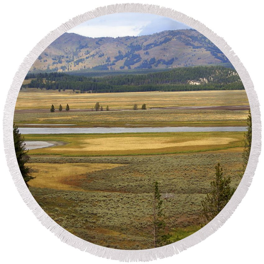 Yellowstone National Park Round Beach Towel featuring the photograph Lamar Valley 1 by Marty Koch