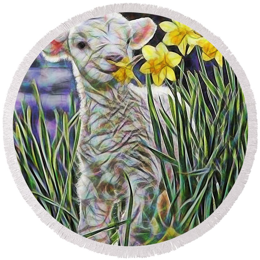 Lamb Round Beach Towel featuring the mixed media Lamb Collection by Marvin Blaine