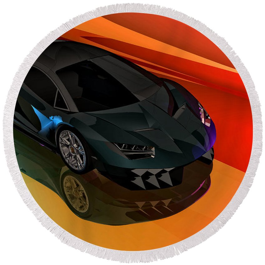 Lamborghini Centenario Drawing Round Beach Towel For Sale By Andrei Sky