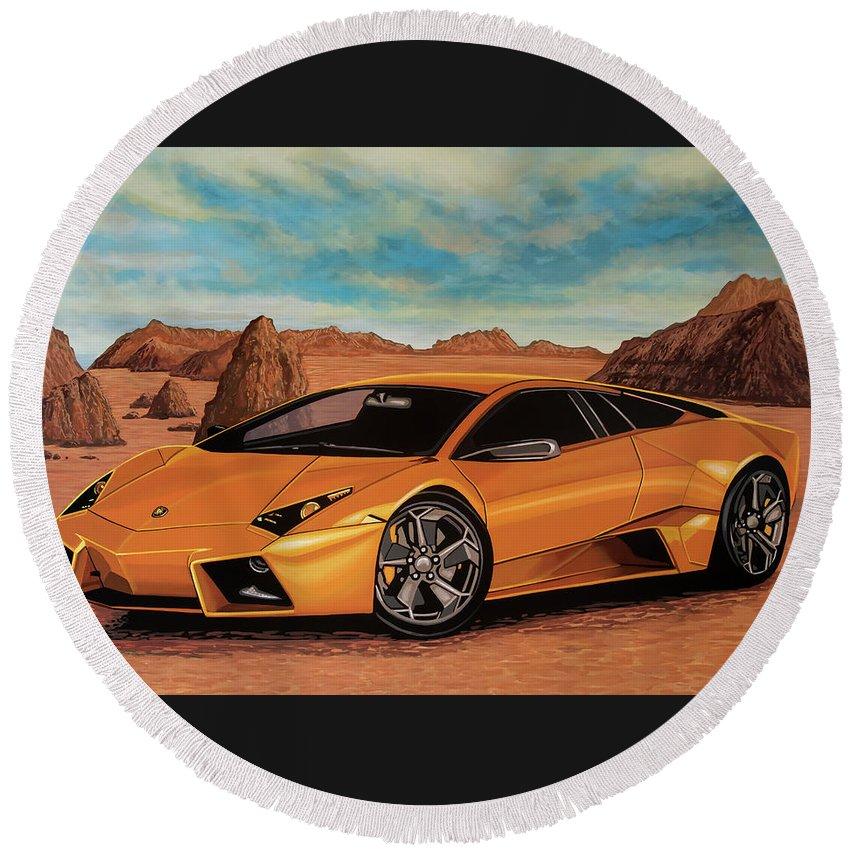 Lamborghini Reventon Round Beach Towel featuring the painting Lamborghini Reventon 2007 Painting by Paul Meijering