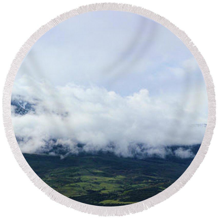 Mountains Round Beach Towel featuring the photograph Lamborn Pano by Samantha Burrow
