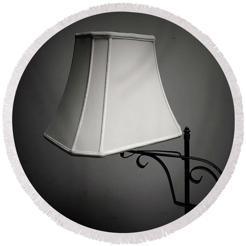Lamp Round Beach Towel featuring the photograph Lamp by John Donnery