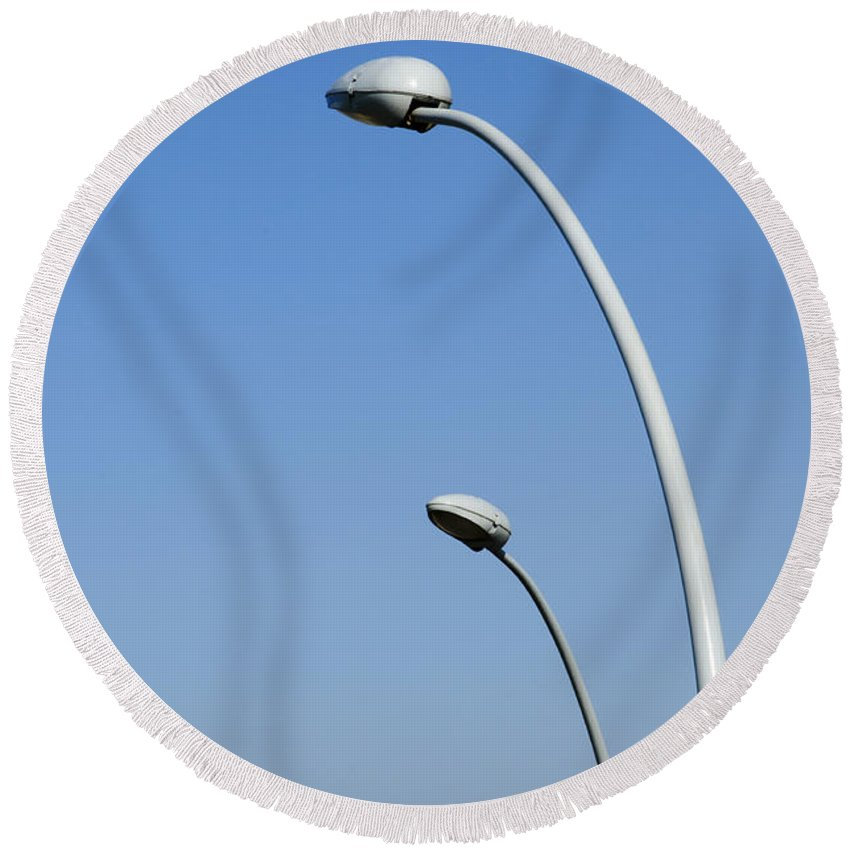 Lamp Round Beach Towel featuring the photograph Lamp Posts On Blue Sky by Ilan Rosen
