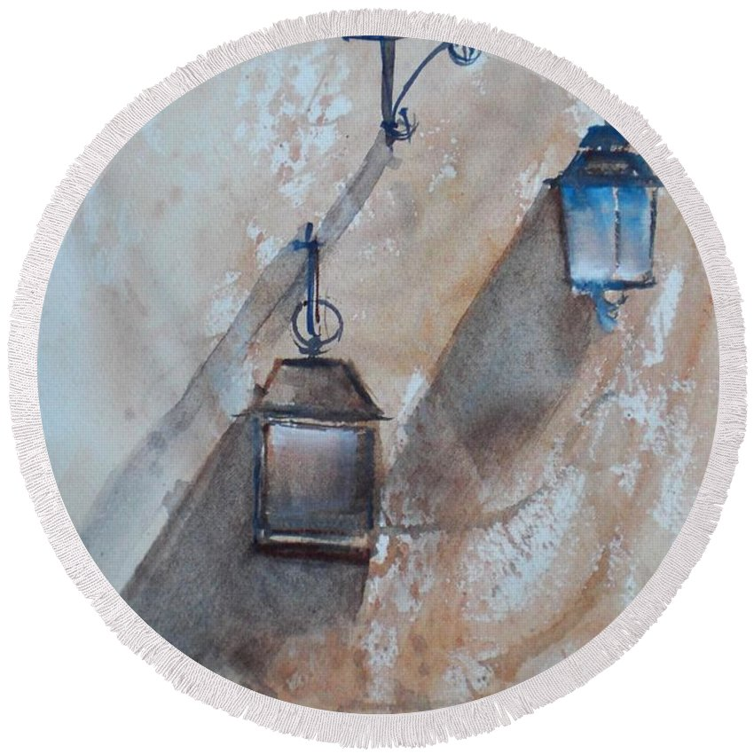 Lamps Round Beach Towel featuring the painting Lamps by Giorgio Gosti