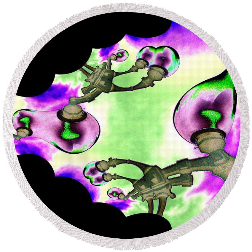 Lamps Round Beach Towel featuring the digital art Lamps by Tim Allen