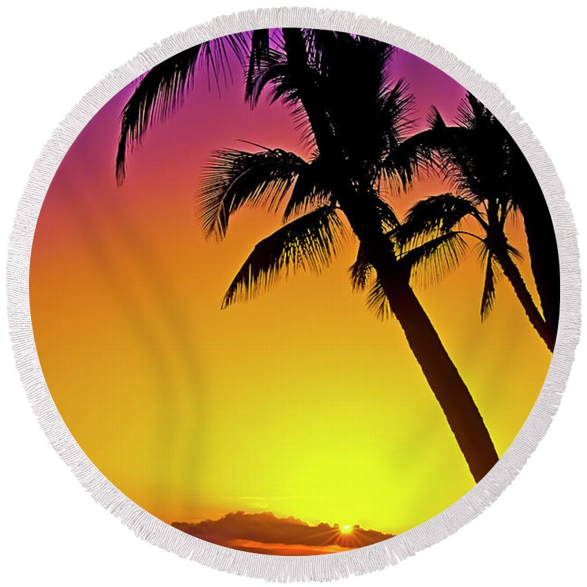 Sunset Round Beach Towel featuring the photograph Lanai Sunset II Maui Hawaii by Jim Cazel