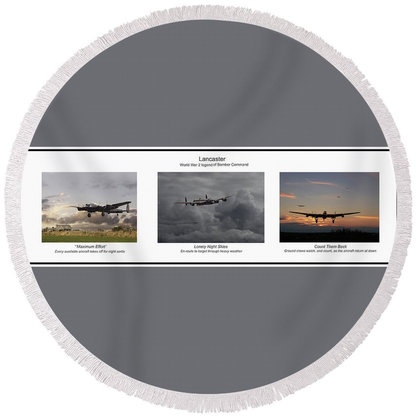 Aircraft Round Beach Towel featuring the digital art Lancaster - Story Board by Pat Speirs