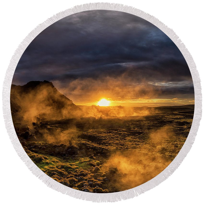 Iceland Round Beach Towel featuring the photograph Land Of Fire And Ice by Bragi Kort