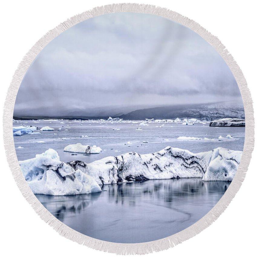 Kremsdorf Round Beach Towel featuring the photograph Land Of Ice by Evelina Kremsdorf