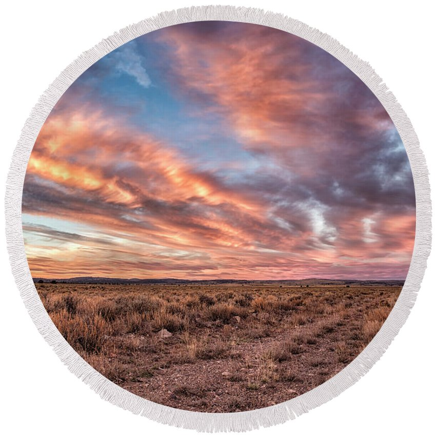 Sunset Round Beach Towel featuring the photograph Land Of Sagebrush And Wild Horses by Belinda Greb