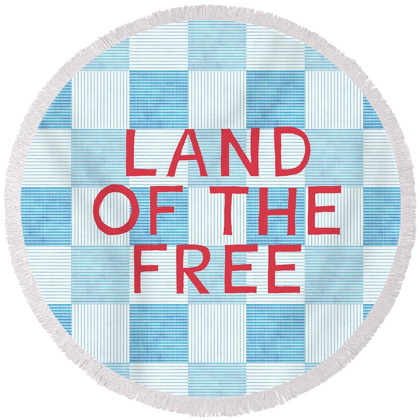 Land Of The Free Round Beach Towel featuring the painting Land Of The Free by Linda Woods