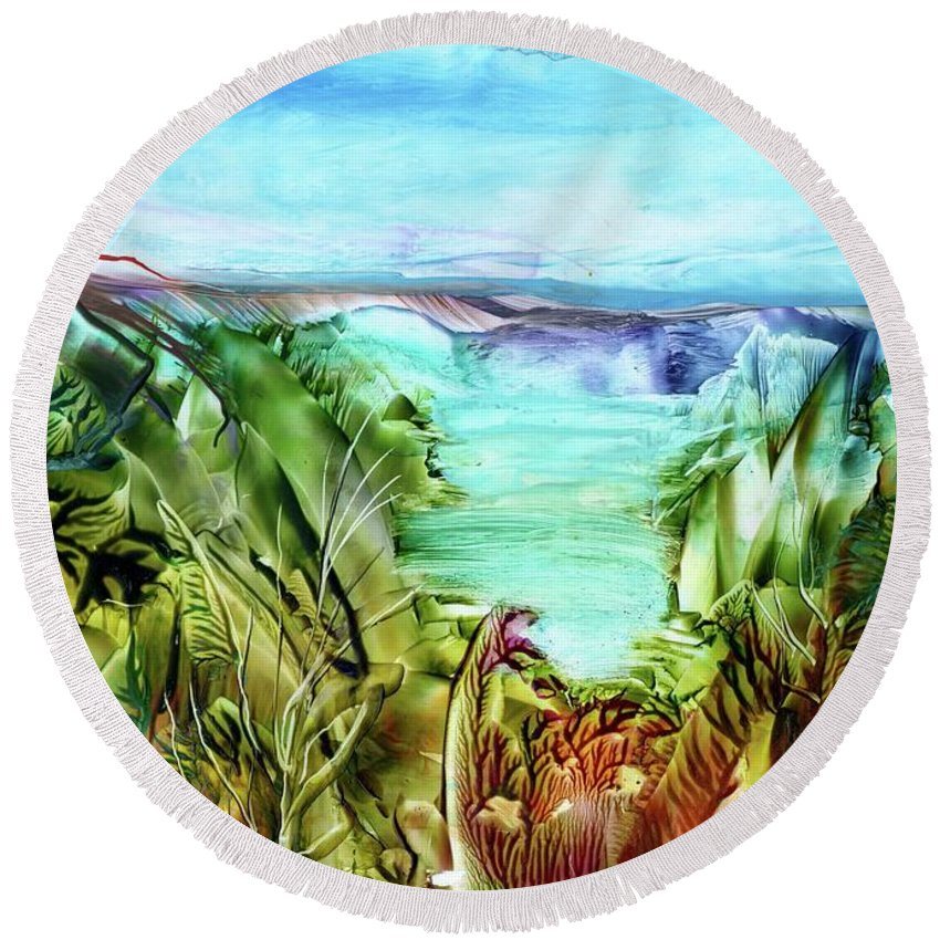 Sea Round Beach Towel featuring the painting Land Sea And Sky by Angelina Whittaker Cook