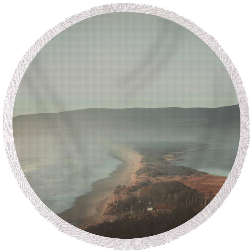 Landscapes Round Beach Towel featuring the photograph Land Shapes by Luis Orozco