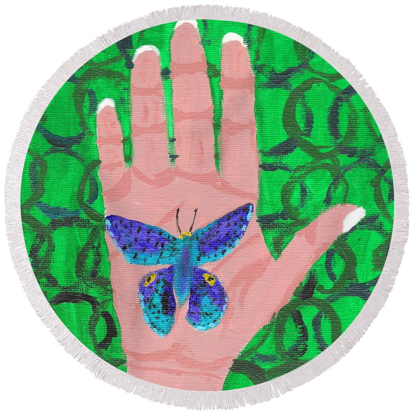Butterfly Round Beach Towel featuring the painting Landed On My Hand by April Patterson