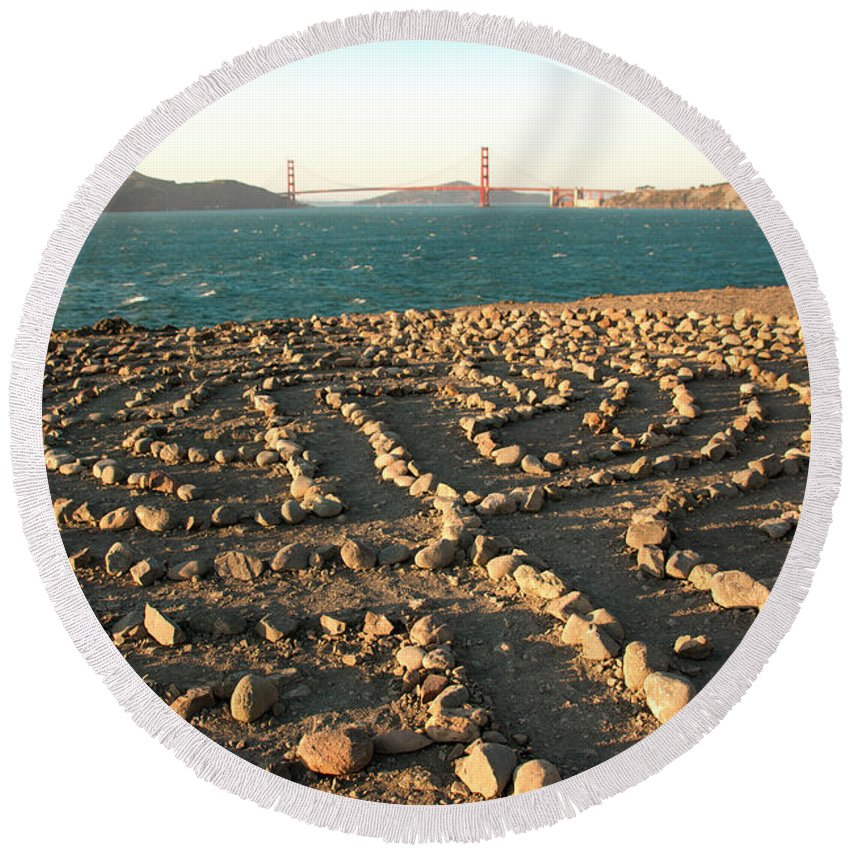 San Francisco Round Beach Towel featuring the photograph Lands End Labyrinth by Susan Wright