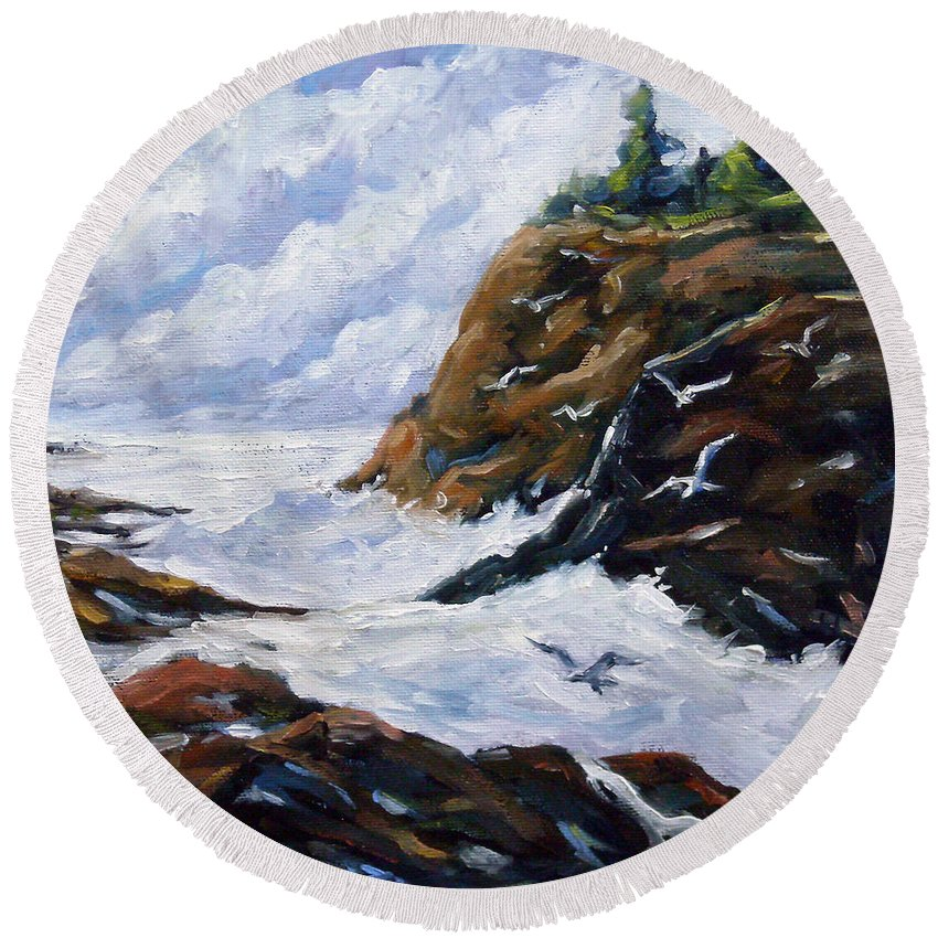 Art Round Beach Towel featuring the painting Lands End by Richard T Pranke