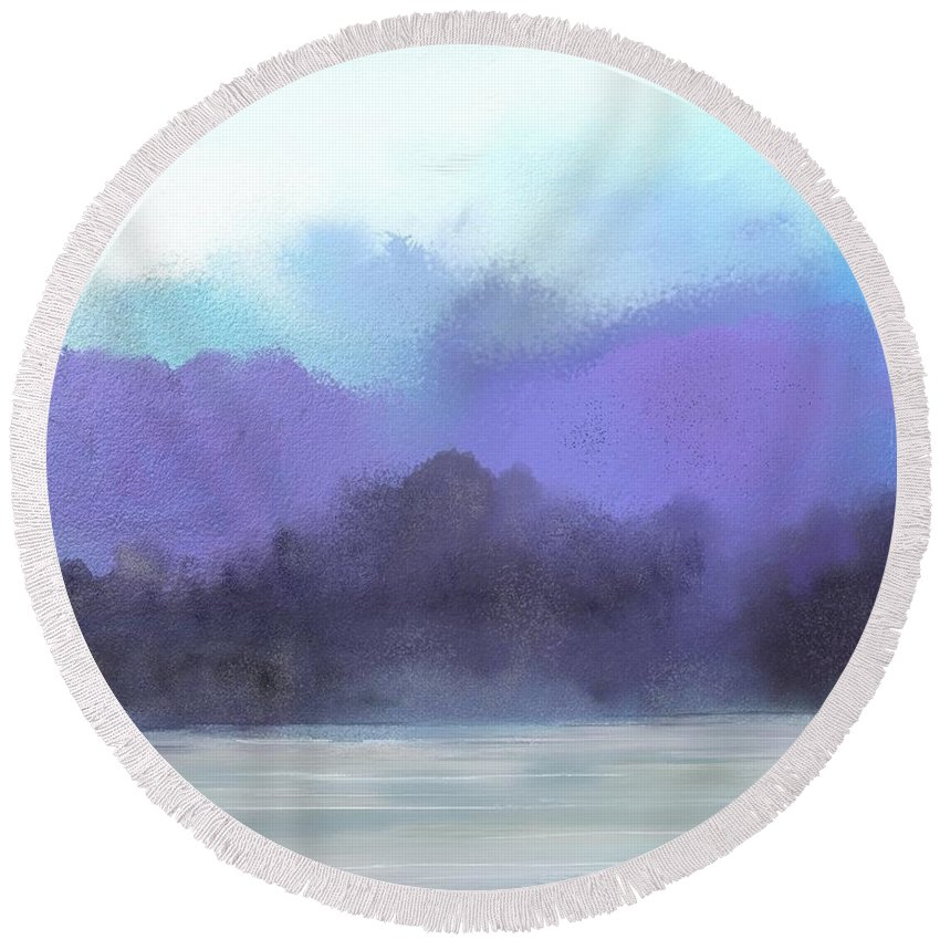 Digital Painting Round Beach Towel featuring the digital art Landscape 02-19-10 by David Lane