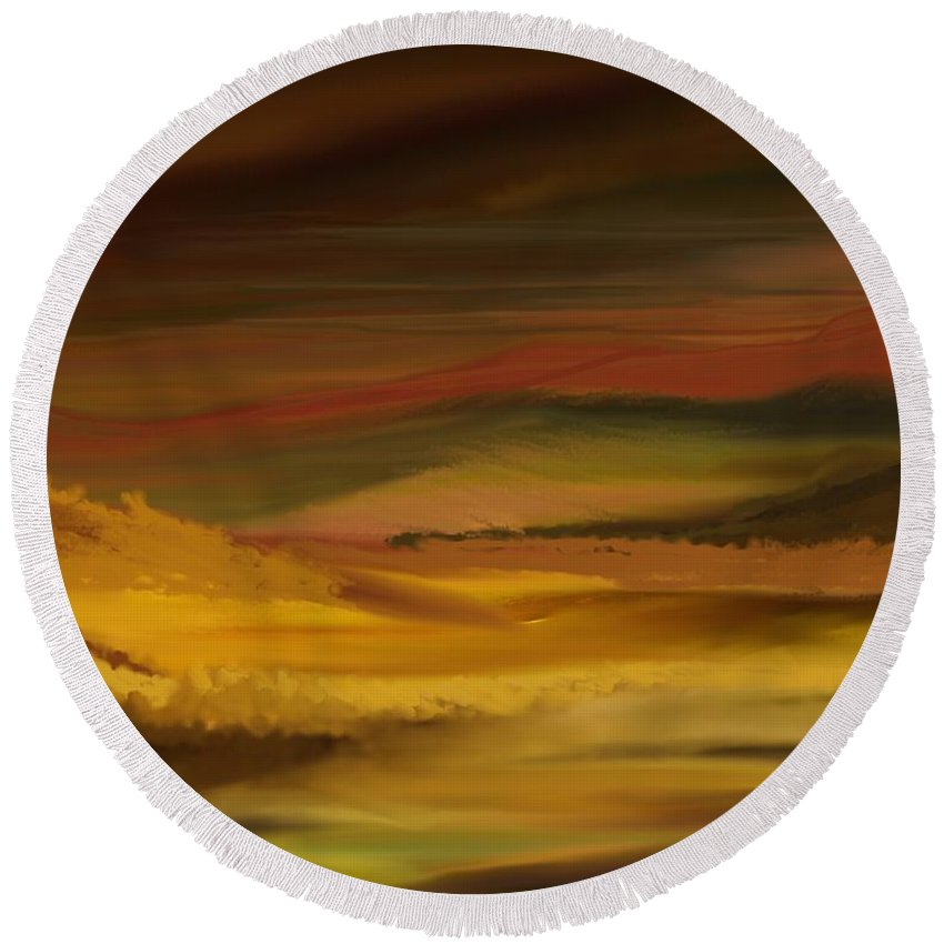Fine Art Round Beach Towel featuring the digital art Landscape 022111 by David Lane