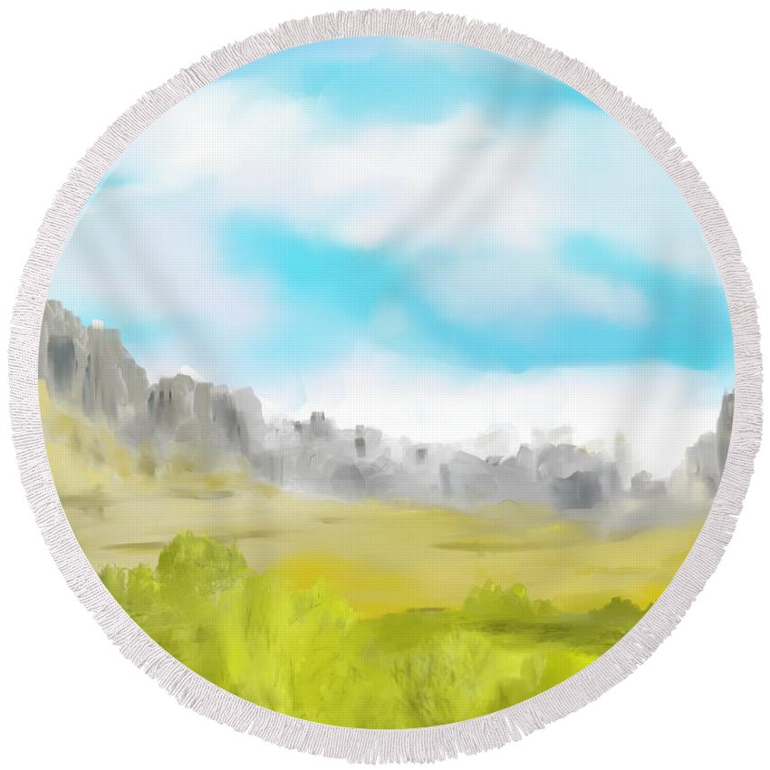 Landscape Round Beach Towel featuring the digital art Landscape 040710 by David Lane
