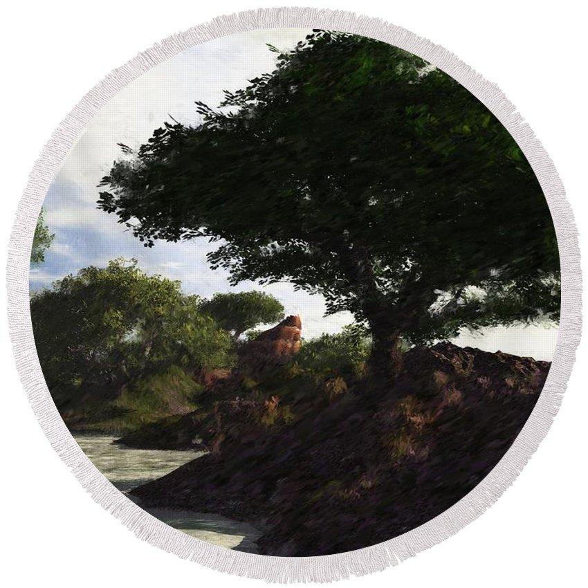 Fine Art Round Beach Towel featuring the digital art Landscape 082510 by David Lane