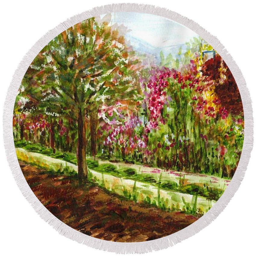 Landscape Round Beach Towel featuring the painting Landscape 2 by Harsh Malik