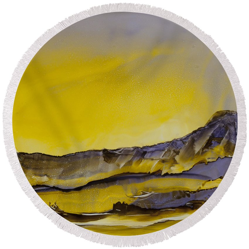 Landscape Round Beach Towel featuring the painting Landscape 4 by A And K Art Studio