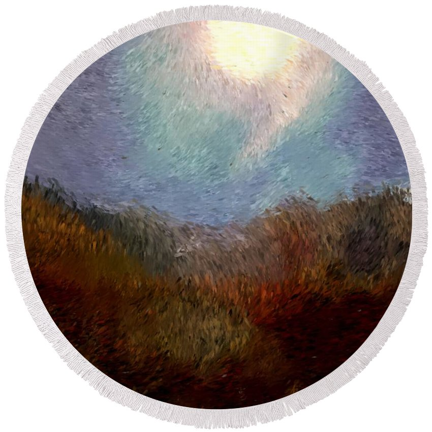 Abstract Digital Painting Round Beach Towel featuring the digital art Landscape 8-27-09 by David Lane