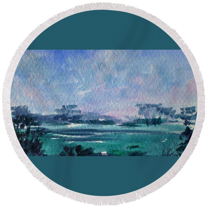 Landscape Round Beach Towel featuring the painting Landscape by Angelina Whittaker Cook