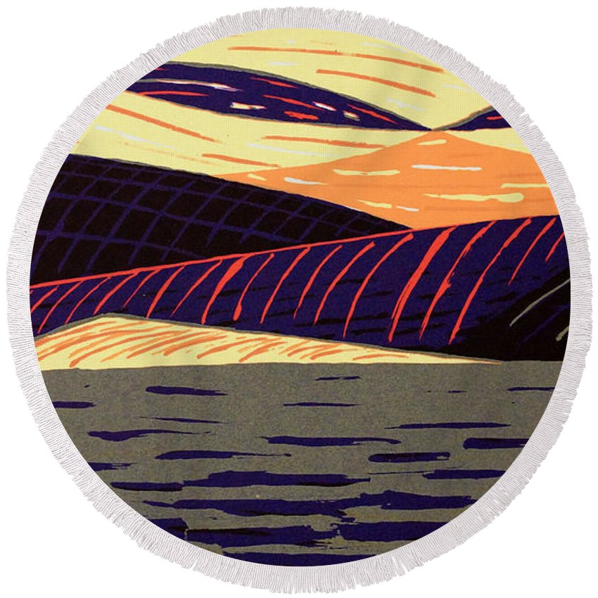 Bruce Bodden Round Beach Towel featuring the painting Landscape by Bruce Bodden