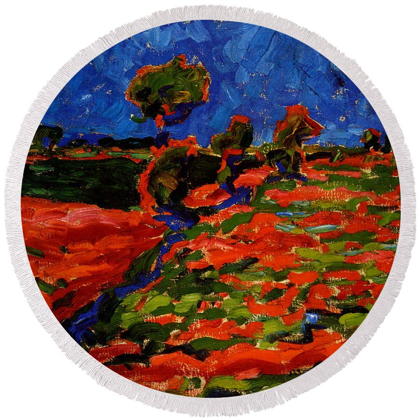 Erich Heckel Round Beach Towel featuring the painting Landscape by Erich Heckel